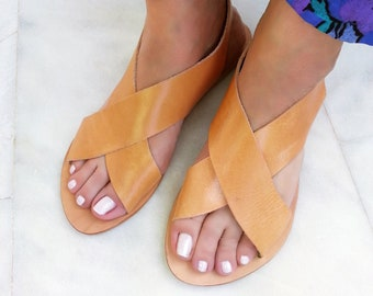 Slingback Classic Style Leather Sandals for Women. Full-Grain Natural Leather Sandals or Black Sandals, Greek Sandals.