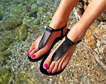 Black Leather Sandals, Women Thong Sandals, Flat Summer Shoes, Barefoot Sandals, Handmade Greek Sandals, Grecian Sandals, Gift for her.