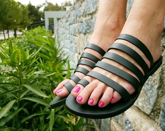 Black Sandals, Handmade Leather Sandals, Greek Sandals, Women Sandals, Black Leather Slides, Grecian Sandals