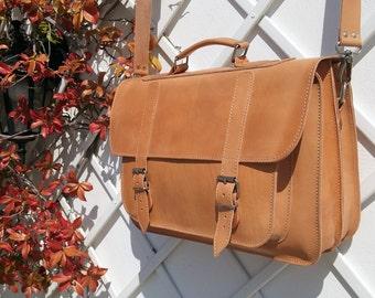 "Full Grain Leather Professional Bag, Leather Messenger Bag, Leather Briefcase, Laptop Bag (15"")."