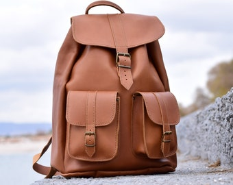 b62211bf510c Men Leather Backpack   Tobacco Brown Backpack from Full Grain Leather    Extra Large Size.