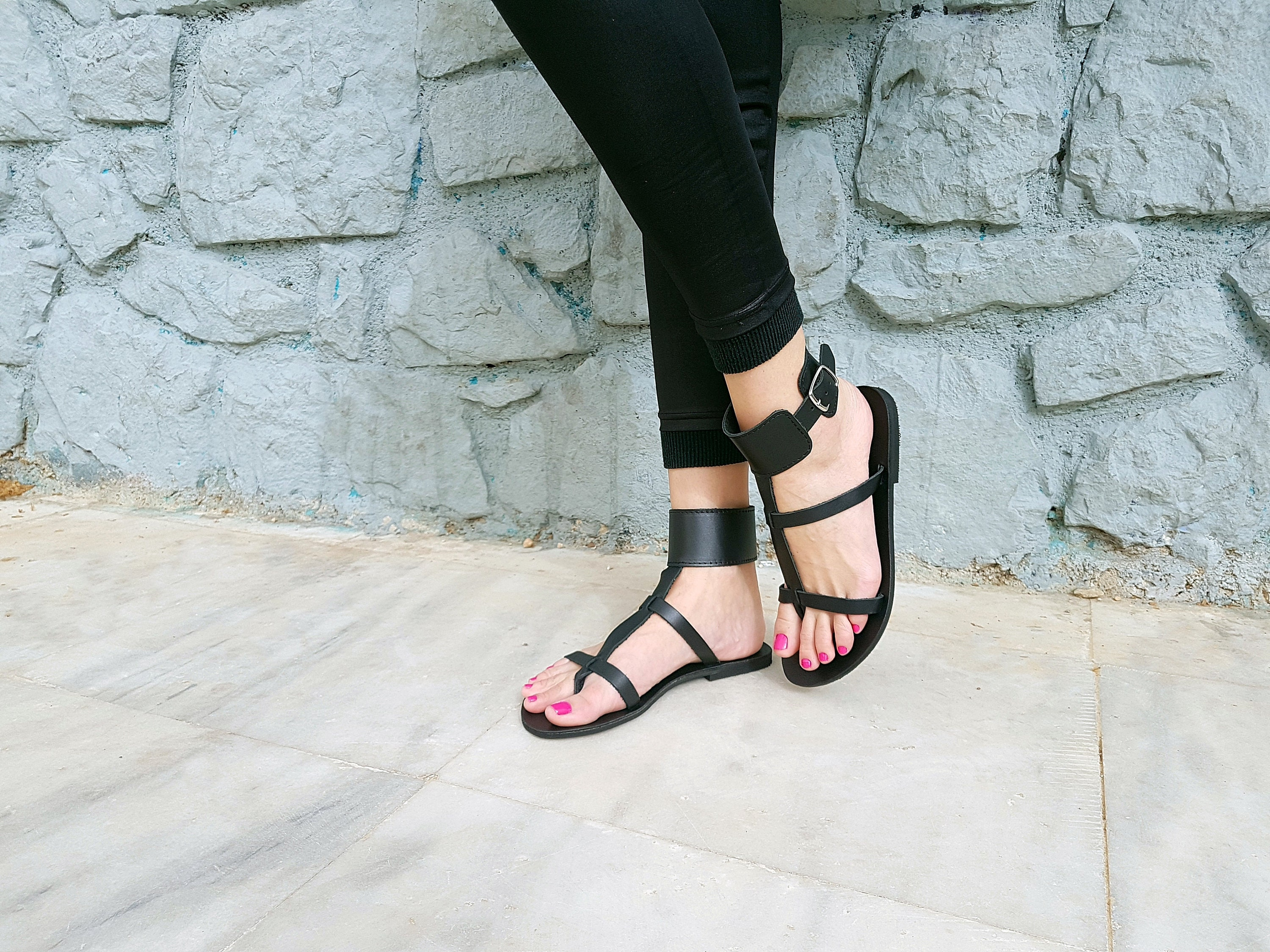 89186e33a86 Ankle Cuff Sandals Black Gladiator Sandals Flat Leather