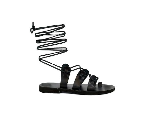 Black Gladiator Sandals for Women Knee