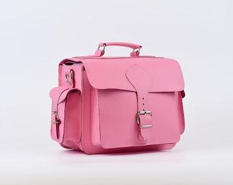 Pink Leather Camera Bag, Pink Shoulder Bag Women, Leather Handbag. Photography Bag Leather, DSLR Camera Case. 100% Full Grain Leather.
