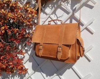 Full Grain Leather Briefcase Men. 17 inch Laptop Bag. Leather Messenger Bag. Laptop Bag. Shoulder Bag. 4 Available Colors.