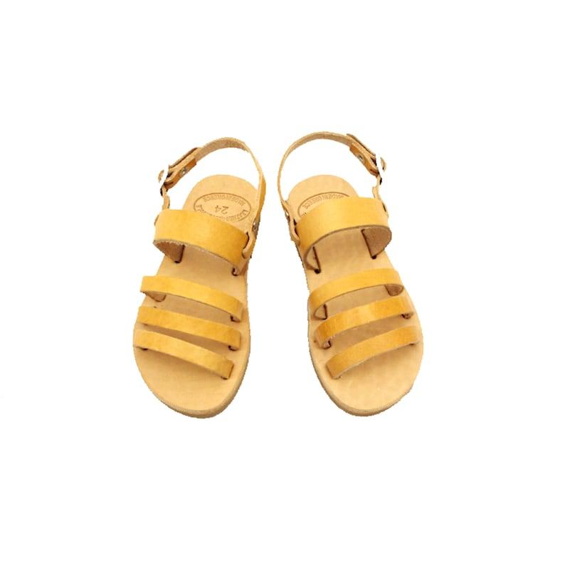 Baptism Gift. Unisex Kids/' Sandals Leather Shoes Children Boys /& Girls Footwear Handmade Genuine Leather Greek Sandals Slingback