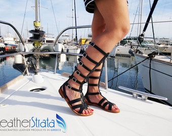 Ancient Greek Leather Gladiator Sandals, Greek Sandals, Knee High Strappy Sandals, Spartan Sandals, Handmade in Greece, Sandales Grecques.