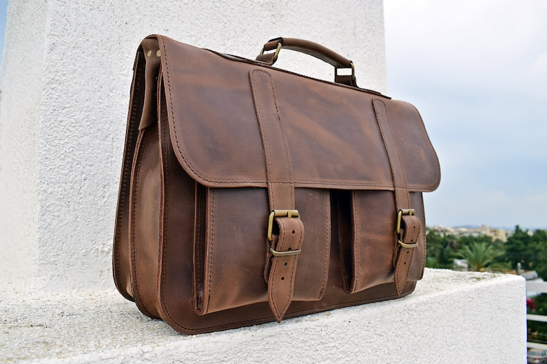 21f9cee9e0127 Leather Messenger Bag from Full Grain Leather   15 inch Laptop