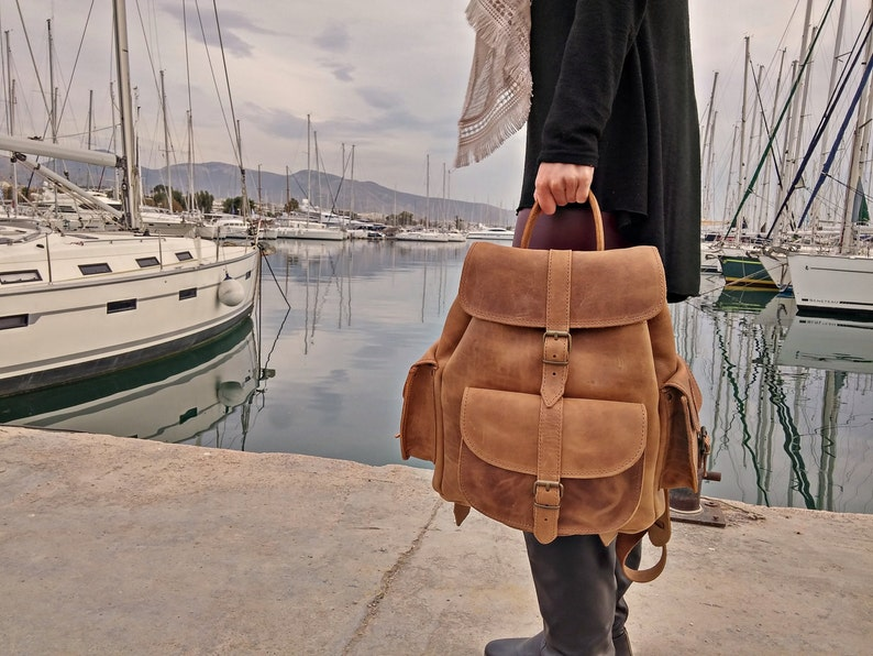Waxed Leather Backpack  Knapsack from Full Grain Leather image 1