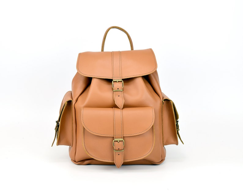 Handmade Backpack from Full Grain Leather. Tobacco Brown Leather Backpack for Women Large Size Backpack