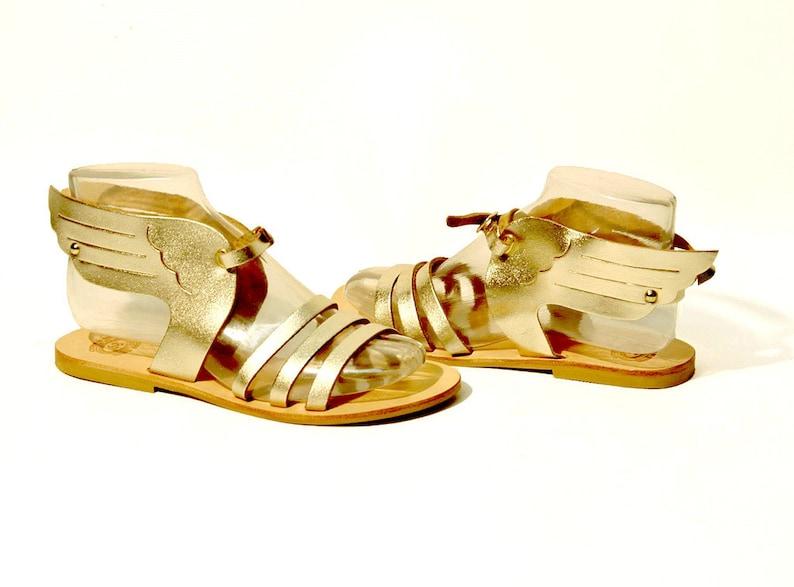 4da65dca06f8 Leather Sandals  Hermes Winged Greek Sandals Gold Sandals.