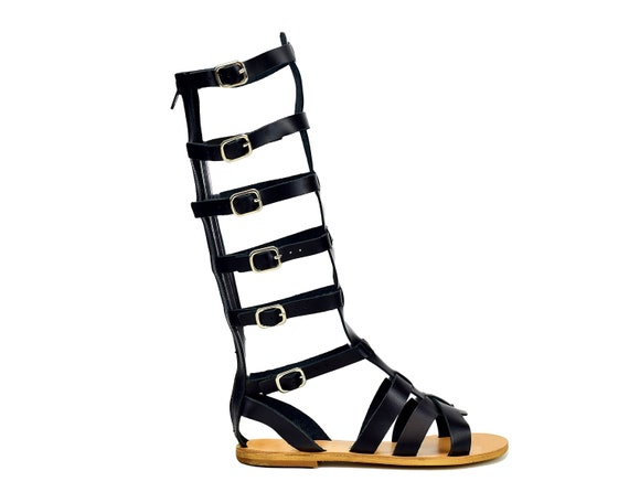 Ancient Greek Women's Summer Sandals Knee High Gladiator Sandals with zip closure Handmade of Real Leather.