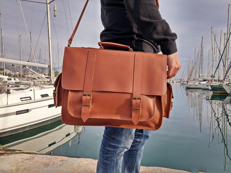 1365a9cd16 Large Leather Messenger Bag. 17 inch Laptop Briefcase. Mens