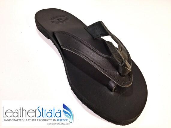 65e560810 Black Sandals Calf Leather Flip Flop Sandals Summer Flats.