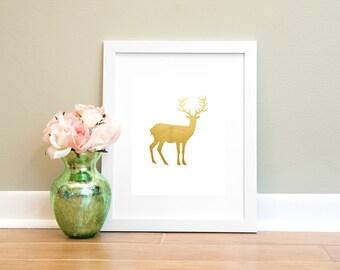 Gold Deer Printable Wall Art, 8x10 Digital Download Print, Instant Download Printable Wall Art, Gold Foil Deer Print
