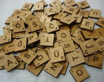 Alder Wood Esperanto Scrabble Tiles