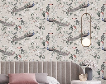 Peel and stick wallpaper, Pink wallpaper, Pink botanical wallpaper, Birds wallpaper with botanical pattern, Dining room wallpaper, WFL144