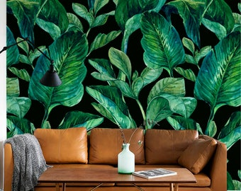 GREEN LEAVES Pattern Temporary Wallpaper Green Leaves Large Wall Mural