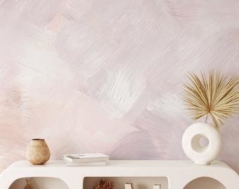 Pink abstract wallpaper, Paint brush texture wallpaper, Abstract peel and stick wallpaper, Pink nursery wallpaper, WFL160
