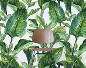 TROPICAL PATTERN Wallpaper, Exotic Removable Wallpaper, Palm leaves Wallpaper, Exotic Wall Mural, Palm leaves Self-Adhesive Wallpaper, 085