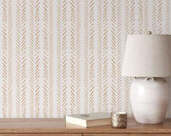 Terracotta herringbone wallpaper, Orange nursery wallpaper, Peel and stick wallpaper, Herringbone wallpaper, Customized wallpaper, WFL116