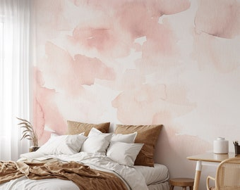Watercolor abstract removable wallpaper, Pink watercolor peel and stcik wallpaper, Watercolor wallpaper for nursery, Wall decal, WFL113
