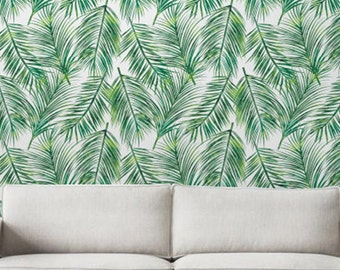 Palm Leaves Self-adhesive Wallpaper, Tropical Wallpaper, Exotic Leaves pattern, Palm Tree Decal, Green Leaves Wallpaper, 276