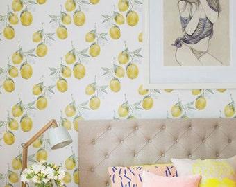Lemon Wallpaper, Removable Wallpaper, Lemon Wallpaper, Lemon Wall Sticker, Lemon Wall Decal, Lemon Self-Adhesive Wallpaper, 112