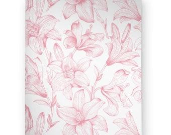 edf0c6ef0ef Pink Lily Silhouette Print Wallpaper, Removable Wallpaper, Lily Wall Decal,  Lily Wall Sticker, Pink Lily Silhouette Adhesive Wallpaper, 193