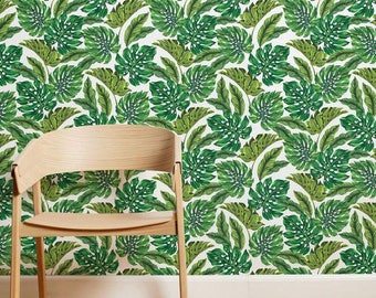 MONSTERA & BANANA leaves pattern wallpaper, Exotic removable wallpaper, Banana leaves wallpaper,  Tropical leaves wall covering, 123