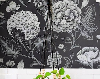 GARDEN ROSE and HYDRANGEA flower print peel & stick wallpaper, Geranium wall decal, Hydrangea wall covering, Hydrangea wall sticker, 150