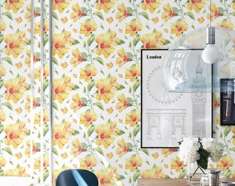 Yellow Petunia Print Removable Wallpaper, Temporary Wall Decal, Home Decor, Vinyl Wallpaper, 237