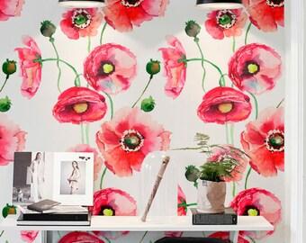 Aquarel Poppy Flower Print Tijdelijke Behang, Vinyl Behang, Verwisselbare  Wall Stickers, Bloemen Behang, Decor Van Het Huis, 151
