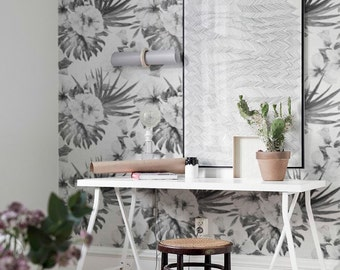 Hibiscus Wallpaper, Monstera Wallpaper, Hawaiian Wallpaper, Exotic Wall Sticker, Wall Decal, Hibiscus and Monstera Wallpaper, 088
