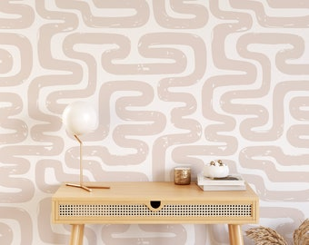Peel and stick wallpaper with maze pattern, Pink nursery wallpaper, Abstract wallpaper, Removable wallpaper with maze pattern, WFL149