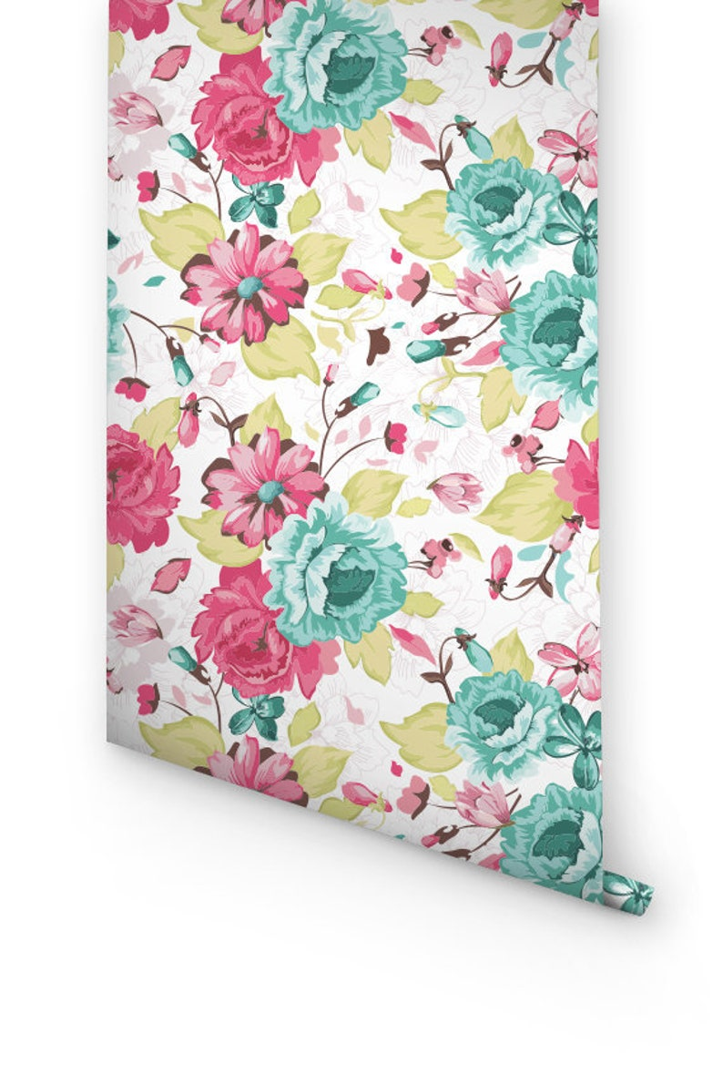 Seamless Color Flowers Pattern Wallpaper Removable Wallpaper Etsy