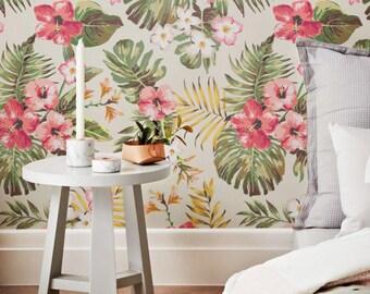 Plumeria Wallpaper, Hibiscus Wallpaper, Hawaiian Wallpaper, Plumeria Wall Sticker,  Plumeria Wall Decal, Hibiscus Adhesive Wallpaper, 119