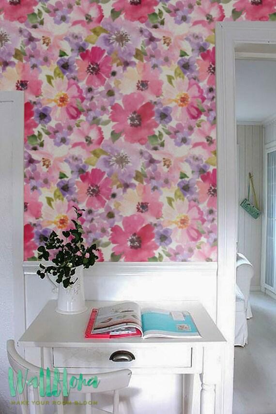 kosmos blume muster tapete peel stick tapete florales etsy. Black Bedroom Furniture Sets. Home Design Ideas