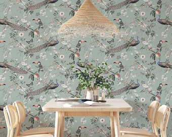 Botanical wallpaper, Peel and stick wallpaper botanical, Blue botanical wallpaper, Birds wallpaper, Blue removable wallpaper, WFL145