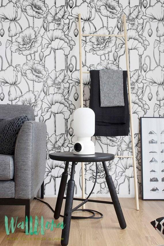 Tappezzeria del papavero rimovibile immagini wallpaper etsy for Tappezzeria adesiva