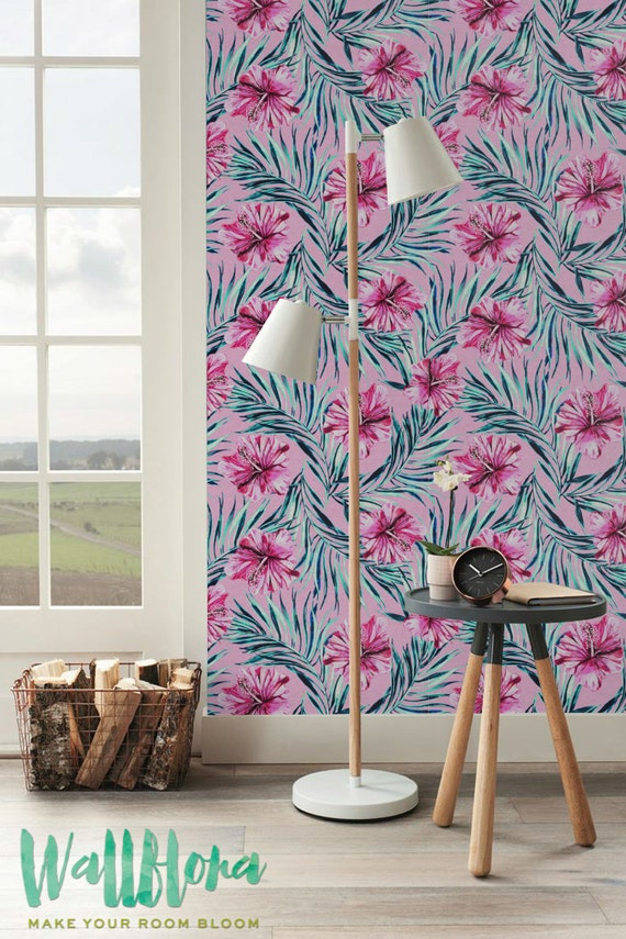 Magenta Hibiscus & palmier d'arec temporaire papier peint, Stickers muraux amovibles, vinyle auto-adhésif, fond d'écran, 236