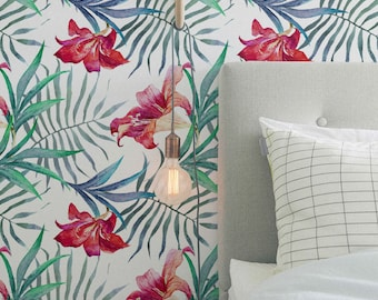 Red Magenta Hibiscus & Palm Areca Temporary Wallpaper , Self Adhesive Removable Wallpaper , Wallpaper Roll, Wall Decor, 246