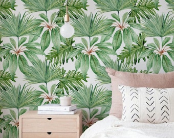 Tropical pattern wallpaper, Exotic removable wallpaper, Palm wallpaper, Bismarck wall sticker, Tropical Palm self adhesive wallpaper, 108