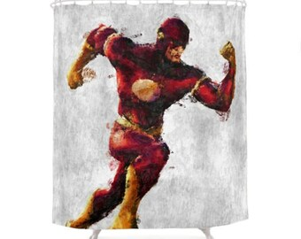 Flash Shower Curtain, Hero Character, DC Comics, Geek Bathroom,  Illustration Curtains, Children Art Bath, Kids Decoration, Batman, Superman