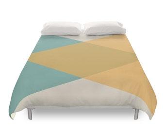 Mitte Des Jahrhunderts Bettbezug, Geometrische Muster, Nordischen Dekor,  Vintage, Retro, Bettwäsche, Minimal Art Schlafzimmer, Gelb, Blau, Twin,  Voll, ...