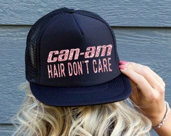 dc0d9fb38a8 Can-Am Hair Don t Care Black Trucker Hat Cap