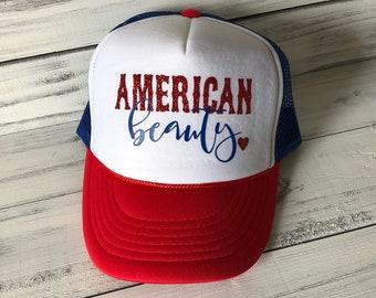 American Beauty Red White Blue Trucker Hat
