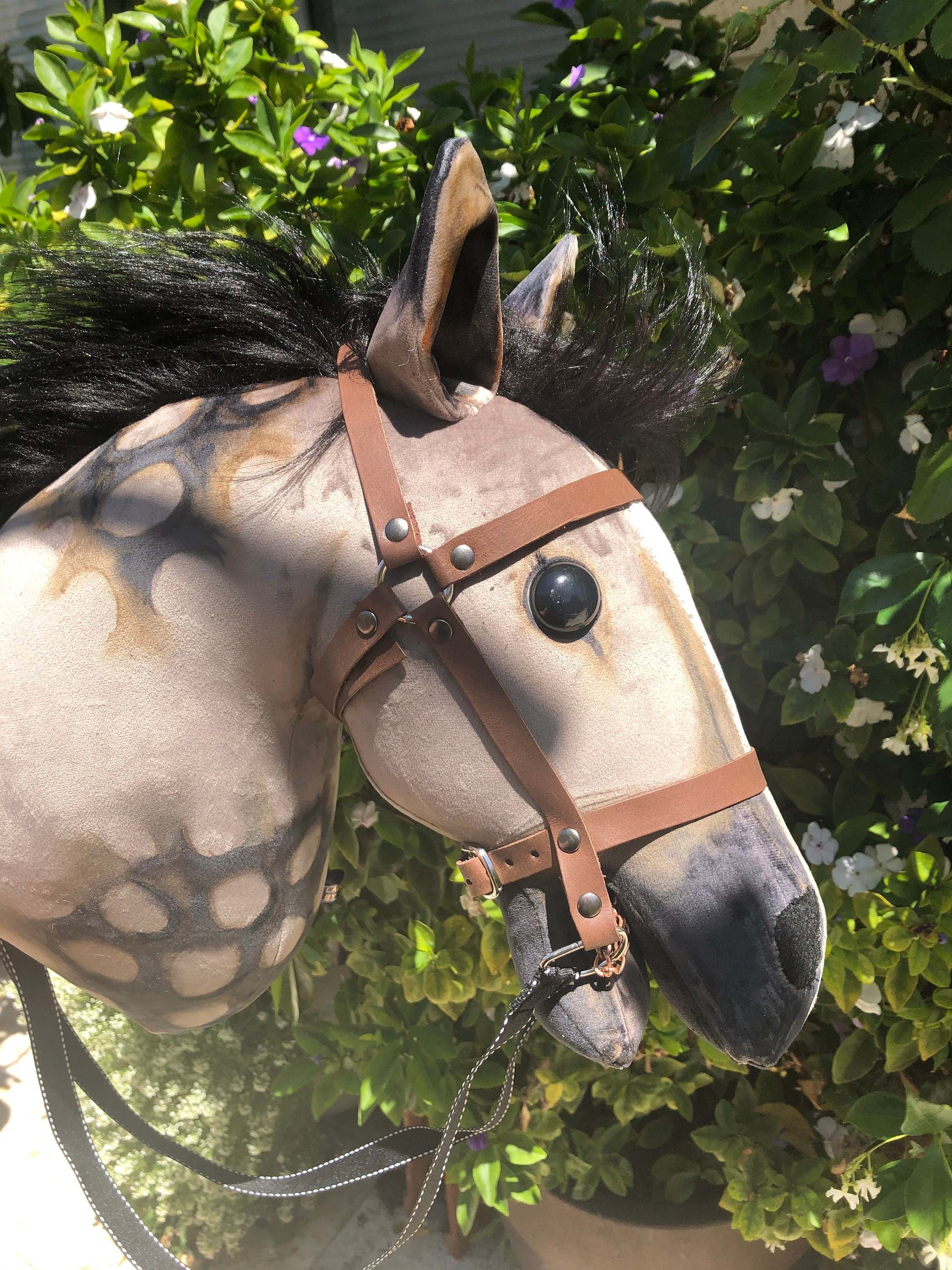 Dapple Grey Hobby Horse With Open Mouth And Blaze Stick Horse Removable Bridle