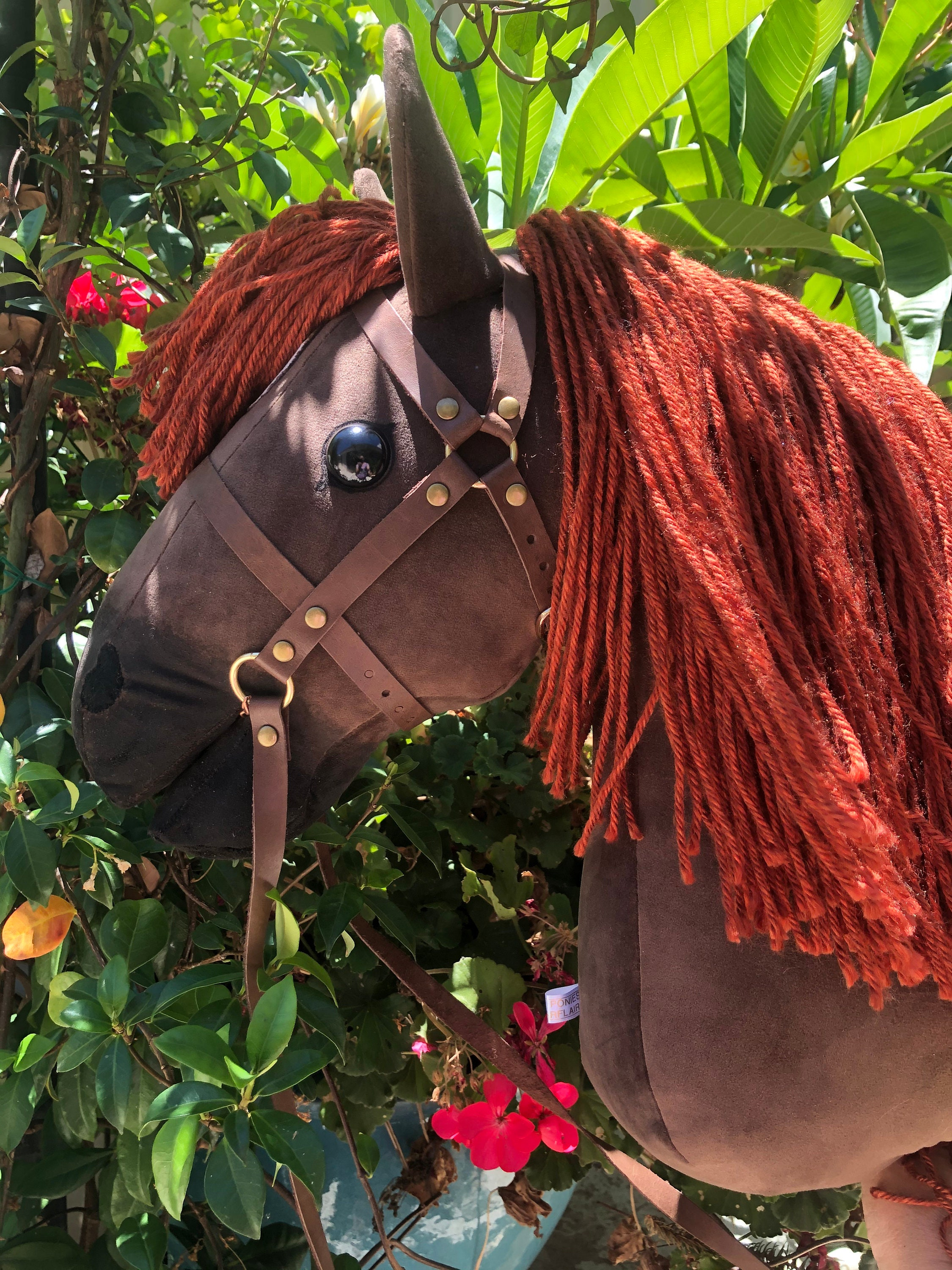 Dark Brown Hobby Horse With Star And Open Mouth Stick Horse Removable Leather Bridle With Chain Bit For Older Children