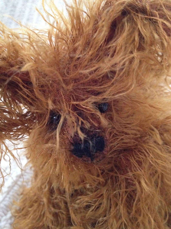 Truffles, Mohair artist bear dog, mutt, Alaine Ferreira, Bearflair